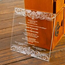 50-Personalized Elegant Engraved Luxury Acrylic Wedding Invitation,Wedding favor