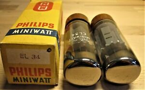 el34 6ca7 tube nos philips power tubes matched pair valve DD getter brown xf4