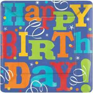 """Birthday Fever Blue Streamers Birthday Party 10.5"""" Square Paper Banquet Plates"""