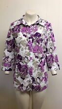Gorgeous Purple, Pink & Cream Floral Blouse Shirt from Damart - Size 16 - BNWOT!