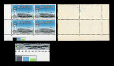 Malaysia 1965 Airport 15c plate block, showing green colour misplaced, striking.