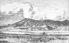 INDONÉSIE: CRATÈRE du VOLCAN BROMO vu du CRATÈRE MOUNGGAL - Gravure du 19eme s.