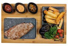 Steak Stone Set in Matt Black By Black Rock Grill Hot Stone Cooking Restaurant