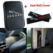 Embroidery For JAGUAR Car Center Armrest Cushion Mat Pad w/ Seat Belt Cover Set