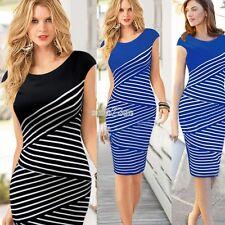Women Sexy Optical striped Wrap Short sleeve knee-length Tunic Midi pencil dress