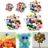 100PCS Colorful Soft Fluffy Pom Poms Pompoms Ball Assorted Childrens DIY Crafts