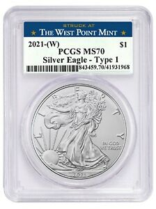 2021 1oz Silver Eagle PCGS MS70 - West Point Label Label In Stock
