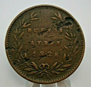ARGENTINA Buenos Aires 1828 5/10 Real Copper Coin