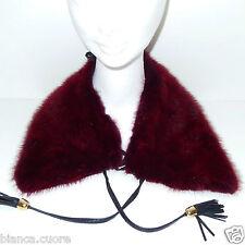 Collo VISONE pelliccia colore Rosso Scuro RARISSIMO con retro PELLE art. F289