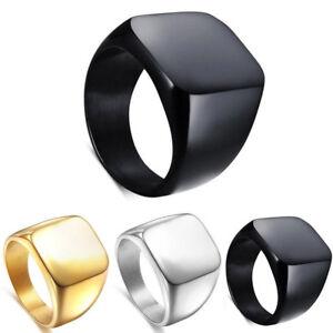 Polished Square Signet Ring Stainless Steel Biker Men's Wedding Band Size 7-12