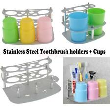Steel Toothbrush Toothpaste Cup Holder Stand + 2/3 Cups Wall Mount Free Standing
