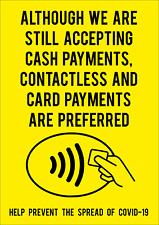 CONTACTLESS AND CARD PAYMENTS PREFERRED STICKERS AND FOAMEX SIGNS-  A5/A4/A3