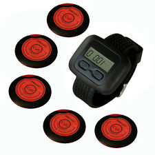 SINGCALL Wireless Waiter Calling Systems, 5 Button Bells and 1 Watch Receiver