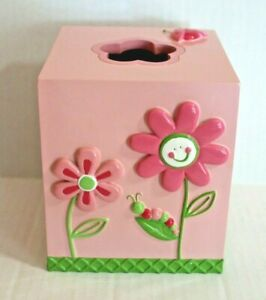 Saturday Knight Butterfly Garden Tissue Box Cover Pink Floral Ladybug EUC