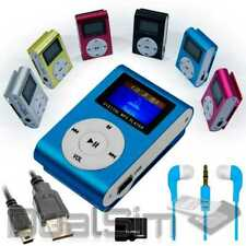 Mp3 Player Screen Blau Clip Aluminium LCD MicroSD SDHC bis 32Gb + Zubehörpaket