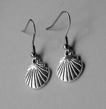 Shell Earrings, Ocean, Sea, Tibetan Silver, Stainless Steel Hooks