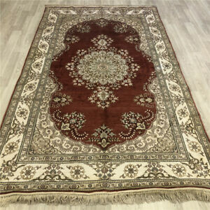 YILONG 5'x8' Red Handknotted Silk Rugs Antistatic Home Decor Indoor Carpets 457B