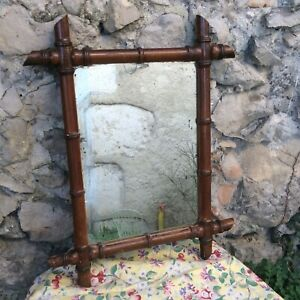 "Antique French Mirror Faux Bamboo Carved Wood Wall 24"" Original Zinc Mirror"