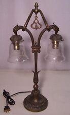 Antique Vtg Lamp Bronze Brass Dual Sockets Light Fleur De Lis Shade Rewired #I55