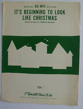 It's Beginning To Look A Lot Like Christmas - 1951 Sheet Music; Big Note Edition