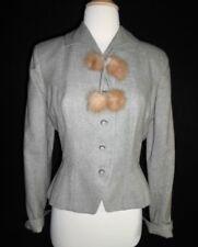 1940's WW2 VINTAGE Nip Wasp Waist Hourglass Wool Jacket Coat MINK FUR Bow S MINT