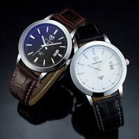 Leder Herren Männer Chronograph Quartz Uhr Wasserdicht Zifferblatt Armbanduhr