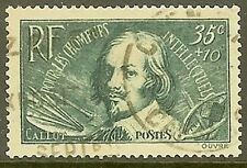 """FRANCE TIMBRE STAMP 381 """" CHOMEURS INTELLECTUELS CALLOT 35c+10c """" OBLITERE TB"""
