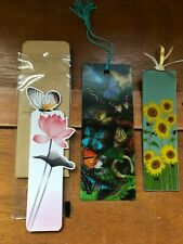 Lot of 3 Hologram Butterflies Paper Butterfly & Sacchi Metal Sunflower Bookmarks