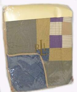 RALPH LAUREN Fall River Patchwork KING QUILT NEW COTTON Green Blue Purple Gold