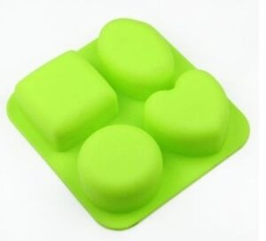 4 Cavity Round Oval Square Heart Shape Silicone Soap Mould Muffin Cups Cake Mold