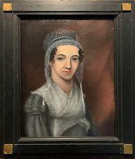 Portrait of a Mennonite Woman, c. 1840s, Oil on Board, Original, Painted Frame