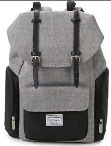 "Eddie Bauer Legend Back Pack Diaper Bag 18"" Gray EZ Clean Brand New"