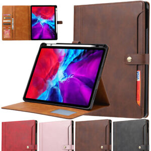 Flip PU Leather Wallet Cover Case with Pencil Holder For iPad Pro 12.9 2018 2020