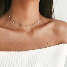 Colgante de collar de cadena de clavícula de aleación de oro estrella para mujer