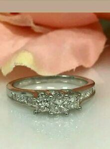 3-Stone 1.75 Ct Princess Cut Diamond Wedding Engagement Ring 14k White Gold