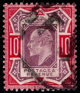 1906 KEVII SG255a 10d Slate-Purple & Carmine M43(2)b Very Fine Used CV £275