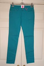 New Sz 10 31 leg Teal Green Cotton light weight Jean Jeans Skinny Trousers Gift