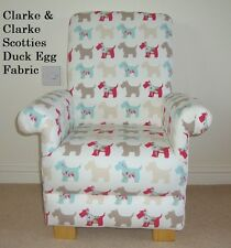 Clarke Scotties Dogs Puppies Fabric Child Chair Nursery Armchair Duck Egg Taupe