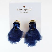 NWT kate Spade Sparkling Crystals with Glam Feathers Drop Earrings, Color: Navy