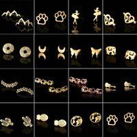 Chic Stainless Steel Geometric Animal Plant Hook Stud Earrings Party Women Gift