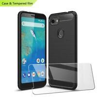 Pour Google Pixel 3A XL Slim Noir Carbone Fibre Gel Téléphone Étui +Verre Trempé