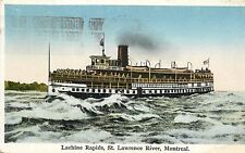 Postcard Lachine Rapids St Lawrence River Montreal Canada pm 1929