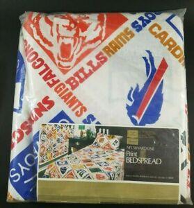 "NFL 1970s Sears 50 Yard Line Full Size Bedspread  94"" x 108"" Former Teams NOS"