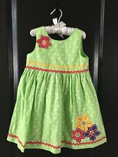 Creations Toddlers Green Dress with White Dots Flowers Size 4 BRAND NEW