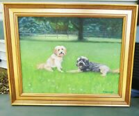 Two Dogs Oil Painting Ernenwein  Terriers