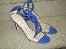 NEW Authentic Manolo Blahnik ESTRO Sandals PVC Suede Blue Suede Tie Heels Shoes