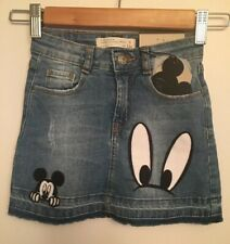 NWT ZARA Disney Girls  Mickey Mouse Denim Skirt Size 5 Rare HTF