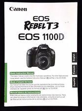 CANON EOS REBEL T3 1100D DIGITAL SLR CAMERA INSTRUCTION MANUAL -CANON DSLR
