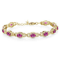 """10 Ct Pink Created Sapphire 18K Yellow Gold Plated Silver Bracelet + 1"""" Extender"""