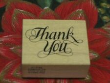 ~NEW PSX C-732~SCRIPT THANK YOU WOOD MOUNTED RUBBER STAMP~RETIRED 1990~UNUSED~